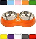 DDOXX Doppel Fressnapf in vielen Farben & Größen für kleine & große Hunde Katzen | Futternapf Katze klein | Hundenapf Hund groß | Katzennapf Edelstahl | Melamin-Napf | Weiß, 2 x 160 ml